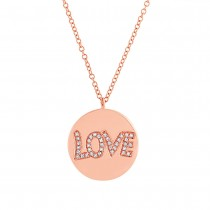 0.08ct 14k Rose Gold Diamond ''love'' Pendant Necklace