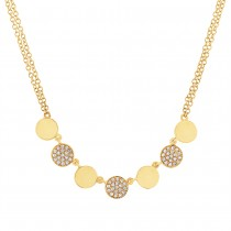 0.16ct 14k Yellow Gold Diamond Pave Circle Necklace