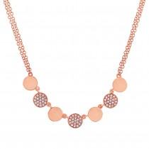 0.16ct 14k Rose Gold Diamond Pave Circle Necklace