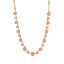 0.30ct 14k Rose Gold Diamond Pave Circle Necklace