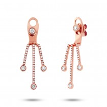 0.48ct 14k Rose Gold Diamond Ear Jacket Earrings With Studs