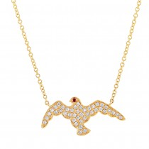 0.20ct Diamond & 0.01ct Ruby 14k Yellow Gold Eagle Necklace