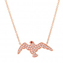 0.20ct Diamond & 0.01ct Ruby 14k Rose Gold Eagle Necklace