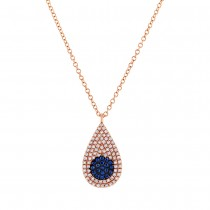 0.22ct Diamond & 0.11ct Blue Sapphire 14k Yellow Gold Pave Pendant Necklace