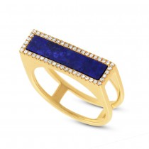 0.15ct Diamond & 1.06ct Lapis 14k Yellow Gold Lady's Ring