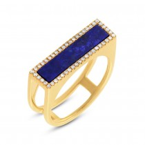 0.15ct Diamond & 1.06ct Natural Lapis 14k Yellow Gold Lady's Ring Size 6