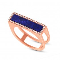0.15ct Diamond & 1.06ct Lapis 14k Rose Gold Lady's Ring