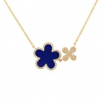 0.23ct Diamond & 1.33ct Lapis 14k Yellow Gold Flower Necklace