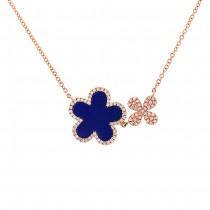 0.23ct Diamond & 1.33ct Lapis 14k Rose Gold Flower Necklace