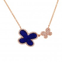 0.25ct Diamond & 1.27ct Lapis 14k Rose Gold Butterfly Necklace