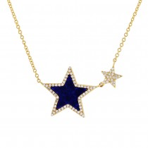 0.18ct Diamond & 0.70ct Lapis 14k Yellow Gold Star Necklace