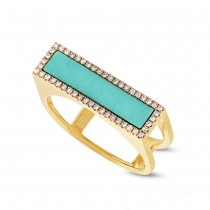 0.15ct Diamond & 0.97ct Composite Turquoise 14k Yellow Gold Lady's Ring