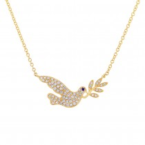 0.25ct Diamond & 0.01ct Blue Sapphire 14k Yellow Gold Dove Necklace