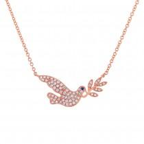 0.25ct Diamond & 0.01ct Blue Sapphire 14k Rose Gold Dove Necklace