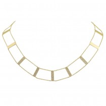 0.71ct 14k Yellow Gold Diamond Ladder Necklace
