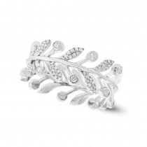 0.24ct 14k White Gold Diamond  Eternity Leaf Ring Size 8.5