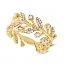 0.24ct 14k Yellow Gold Diamond Leaf Ring