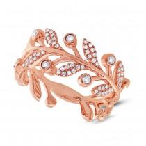 0.24ct 14k Rose Gold Diamond Leaf Ring