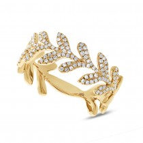 0.30ct 14k Yellow Gold Diamond Leaf Ring