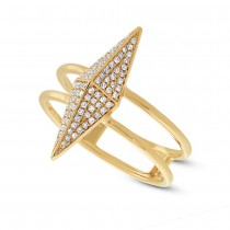 0.22ct 14k Yellow Gold Diamond Pave Pyramid Ring