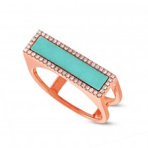 0.15ct Diamond & 0.97ct Composite Turquoise 14k Rose Gold Lady's Ring