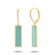 0.36ct Diamond & 2.06ct Composite Turquoise 14k Yellow Gold Bar Earrings