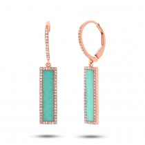 0.36ct Diamond & 2.06ct Composite Turquoise 14k Rose Gold Bar Earrings