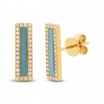 0.22ct Diamond & 0.58ct Composite Turquoise 14k Yellow Gold Bar Earrings