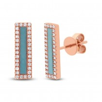 0.22ct Diamond & 0.58ct Composite Turquoise 14k Rose Gold Bar Earrings