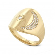 0.16ct 14k Yellow Gold Diamond Sun & Moon Ring