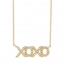 0.15ct 14k Yellow Gold Diamond ''XOXO'' Necklace