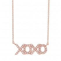 0.15ct 14k Rose Gold Diamond ''XOXO'' Necklace