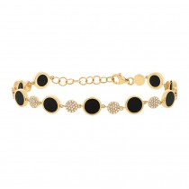 0.41ct Diamond & 3.61ct Onyx 14k Yellow Gold Bracelet