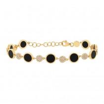 0.41ct Diamond & 3.61ct Onyx 14k Yellow Gold Bracelet