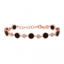 0.41ct Diamond & 3.61ct Onyx 14k Rose Gold Bracelet