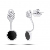 0.09ct Diamond & 0.80ct Onyx 14k White Gold Earrings Jacket With Stud