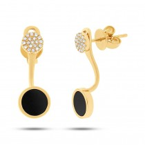 0.09ct Diamond & 0.80ct Onyx 14k Yellow Gold Earrings Jacket With Stud