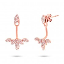0.39ct 14k Rose Gold Diamond Leaf Earrings Jacket With Stud