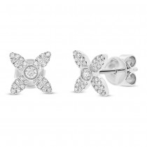 0.20ct 14k White Gold Diamond Flower Earrings
