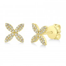 0.16ct 14k Yellow Gold Diamond Flower Earrings