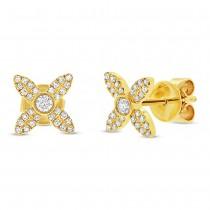 0.20ct 14k Yellow Gold Diamond Flower Earrings