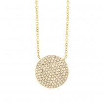 0.37ct 14k Yellow Gold Diamond Pave Circle Necklace