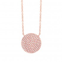 0.37ct 14k Rose Gold Diamond Pave Circle Necklace