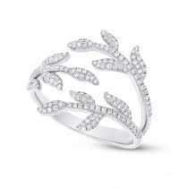 0.44ct 14k White Gold Diamond Leaf Ring