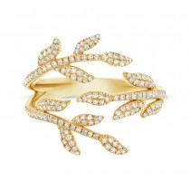 0.44ct 14k Yellow Gold Diamond Leaf Ring