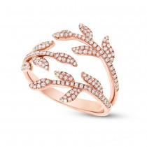0.44ct 14k Rose Gold Diamond Leaf Ring