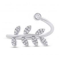 0.20ct 14k White Gold Diamond Leaf Lady's Ring
