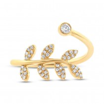 0.20ct 14k Yellow Gold Diamond Leaf Lady's Ring