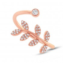 0.20ct 14k Rose Gold Diamond Leaf Lady's Ring