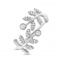 0.36ct 14k White Gold Diamond Leaf Lady's Ring